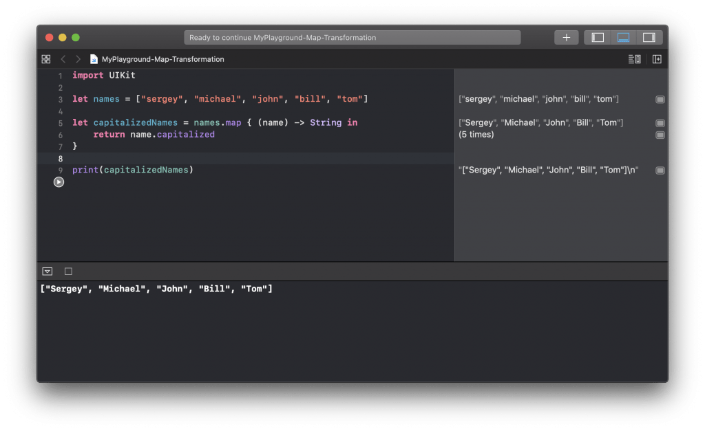 map(_:) example in Swift.
