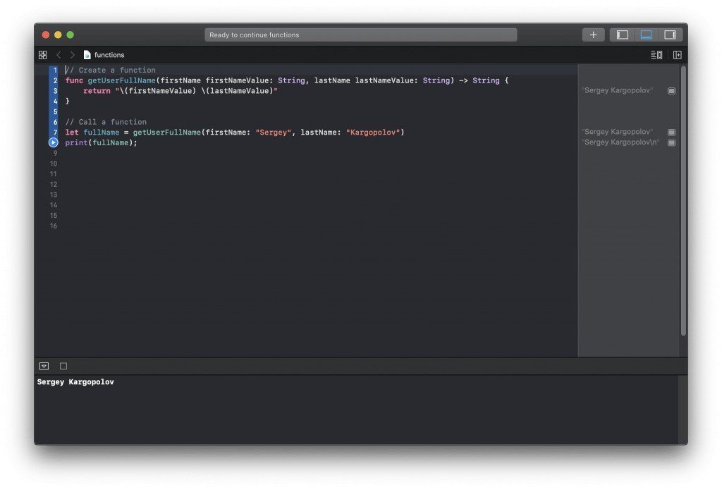 Swift function returning a value
