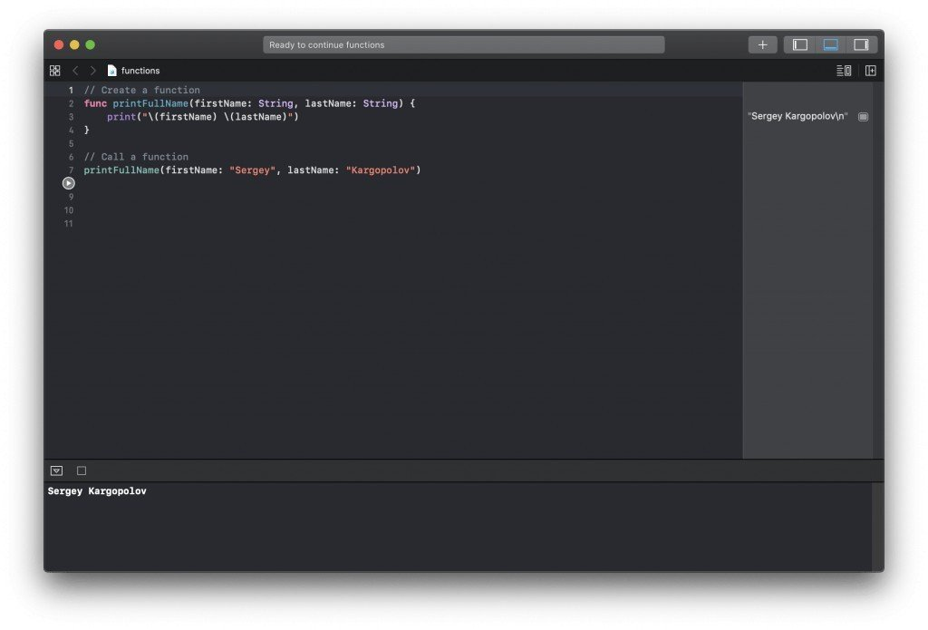 Swift function with parameters