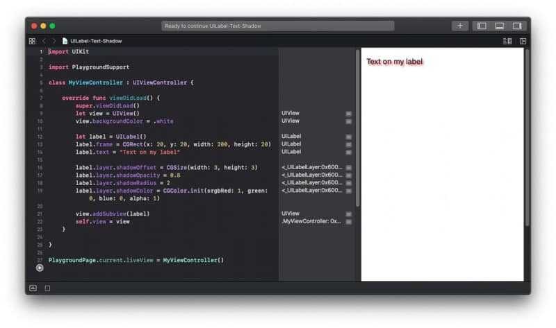 UILabel Text Shadow Example in Swift