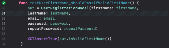 Passing Unit Test in Swift