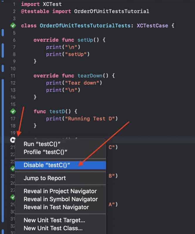 Disable Single Unit Test in Xcode