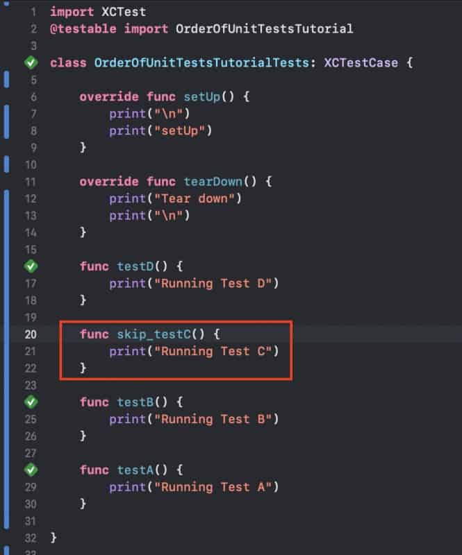 Skip Unit Test in Xcode