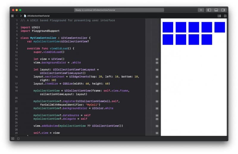 UICollectionView in Swift Programmatically