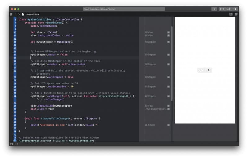 UIStepper example in Swift
