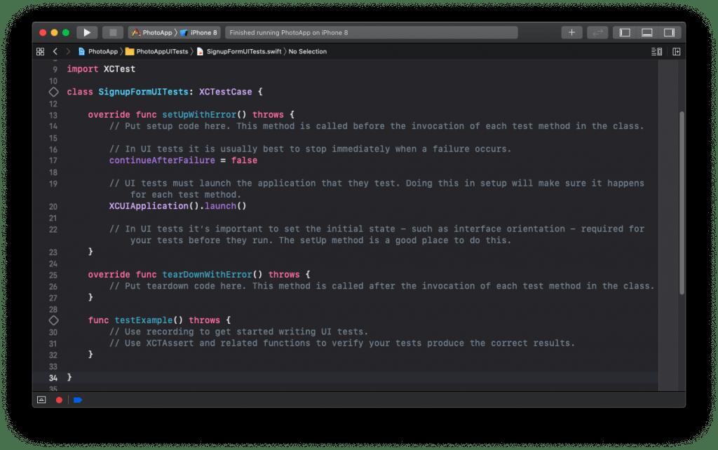 UI Test Case Class Default Template