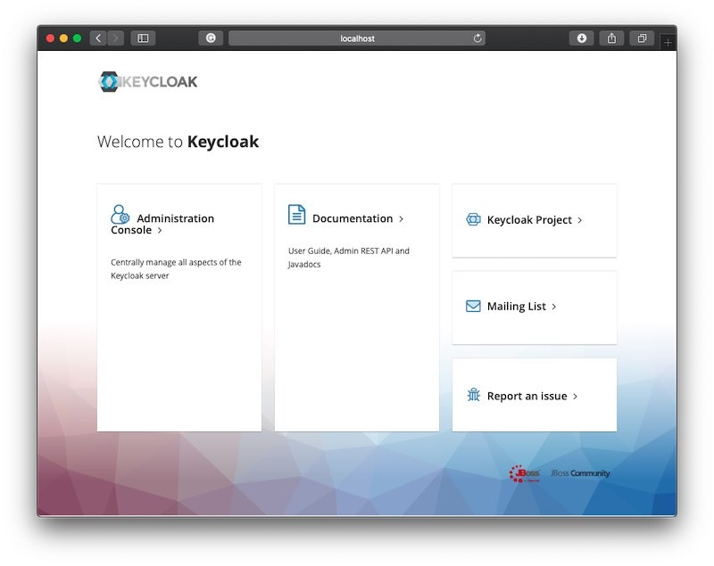 Keycloak Authorization Server Welcome Page