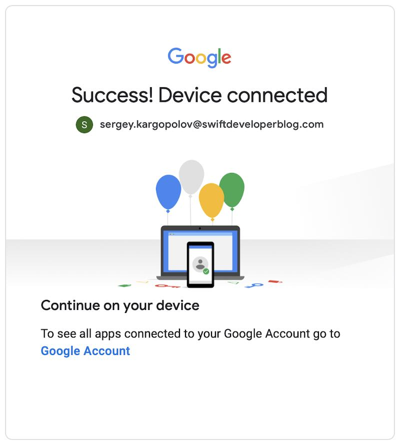 OAuth 2 Device Authorization Code Grant Flow Success Message