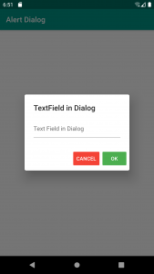 Flutter AlertDialog with a TextField and two buttons